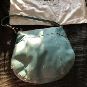 Prada Marine Blue Daino Leather Hobo Bag